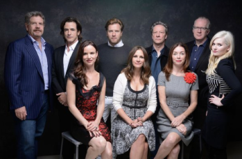 "photo courtesy the L.A Times via Getty Images Director John Wells, left, actor Dermot Mulroney, actress Juliette Lewis, actor Ewan McGregor, actress Julia Roberts, actor Chris Cooper, actress Julianne Nicholson, screenwriter Tracy Letts and actress Abigail Breslin of ""August: Osage County."""